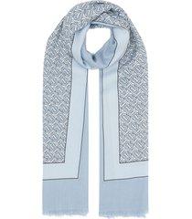 burberry monogram print lightweight cashmere scarf - blue