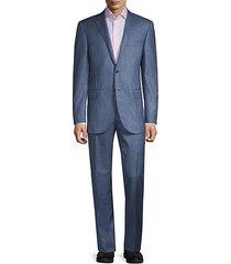 regular-fit check virgin wool & silk suit