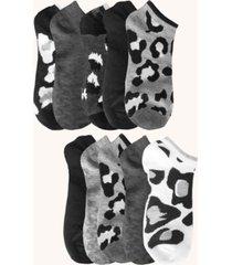 women's leopard no show socks, pack of 10