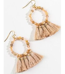 colette beaded tassel earrings - taupe
