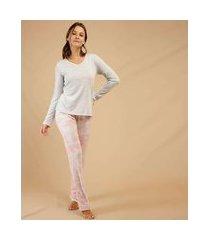 pijama feminino camuflado manga longa marisa