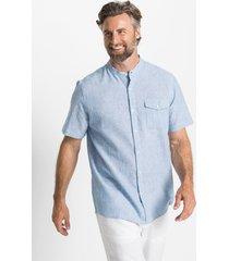 linnenmix overhemd met opstaande kraag, korte mouw
