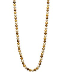 """dyed multi chocolate cultured freshwater pearl (6mm) 18"""" collar necklace"""