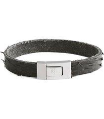 tateossian men's stainless steel & leather distressed bracelet - black