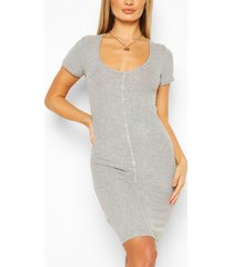 button front ribbed mini dress, grey marl