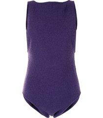 lapointe boucle knit bodysuit - purple