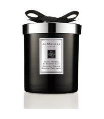 vela perfumada dark âmber & ginger lily home candle 200g - preto