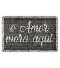 capacho carpet o amor mora cinza único love decor
