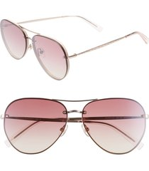 rebecca minkoff gloria2 59mm aviator sunglasses in rose gold at nordstrom