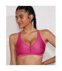 top esportivo feminino ace texturizado com bojo removivel decote nadador rosa escuro