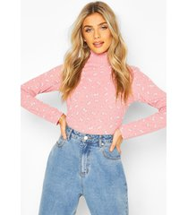 turtle neck top in ditsy floral, pink