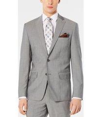 dkny men's modern-fit stretch light gray suit jacket