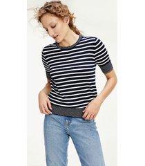 tommy hilfiger women's short-sleeve stripe sweater navy / white - xs