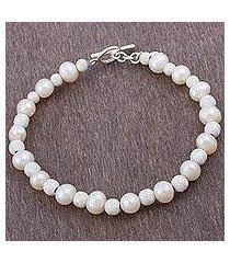 cultured pearl beaded bracelet, 'field of pearls' (peru)