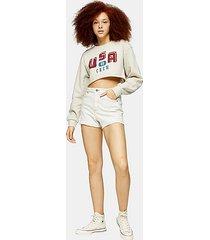 considered premium white denim mom shorts - white denim