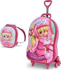 mochila escolar 3d com rodinhas e lancheira maxtoy penelope charminho camarim feminina