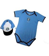 kit body manga curta reve d'or sport bicolor e boné grêmio azul e preta