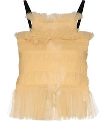 molly goddard back tie tulle top - yellow