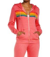 women's aviator nation stripe full zip hoodie, size x-small - pink