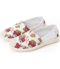 fashion bear printed canvas flats