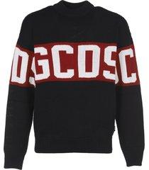 gcds black wool blend sweater with logo