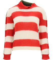 marni turtleneck sweater in striped wool and mohair
