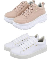 kit 2 tênis feminino retta chunky rosa sapatenis branco - kanui
