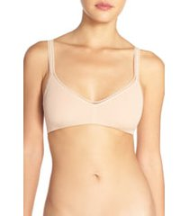 women's on gossamer stretch cotton bralette, size large - beige