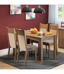 conjunto sala de jantar havana madesa mesa tampo de madeira com 4 cadeiras marrom - marrom - dafiti
