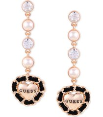 guess gold-tone crystal & imitation pearl woven logo heart linear drop earrings