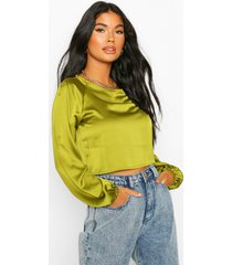 petite satin raglan cropped top, olive