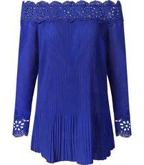 lace crochet pleated blouse