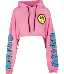 woman pink cropped hoodie with logo
