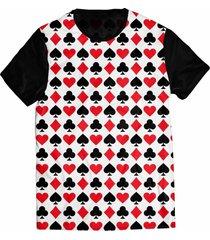 camiseta elephunk estampada baralho naipes preta - kanui