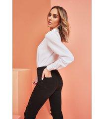 power stretch skinny jeans met superhoge taille, zwart
