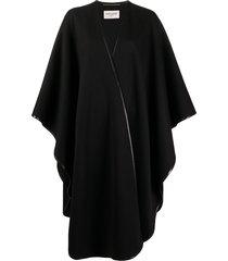 saint laurent oversized poncho cape coat - black