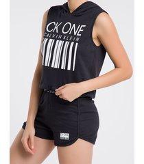 moletom feminino regata com capuz ck one barcode preto loungewear calvin klein - s