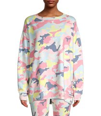 wildfox women's camouflage-print sweatshirt - pink multicolor - size m