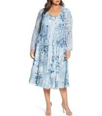 plus size women's komarov charmeuse dress with chiffon jacket