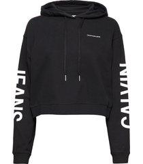 cropped institutiona hoodie trui zwart calvin klein jeans
