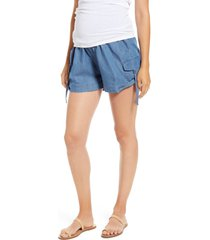 women's fourteenth place over the belly utility maternity shorts