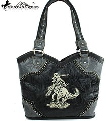 montana west cowgirl collection bucking bronco horse rodeo tooled handbag purse