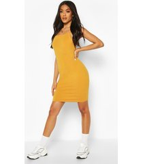 90's neck mini bodycon dress, mustard