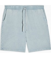 mens washed blue jersey shorts