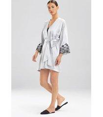 lolita robe, women's, grey, 100% silk, size l, josie natori