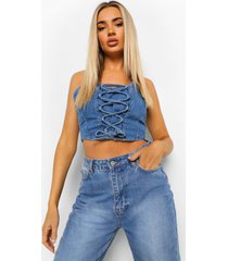 denim korset top met veters, middenblauw