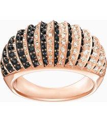 anello luxury domed, nero, placcato oro rosa