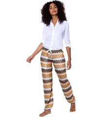 multicolor sand chevron knitted pants