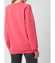 balmain women's flocked logo sweatshirt - fuchcia/noir - m