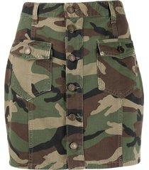 saint laurent camouflage print mini skirt - green